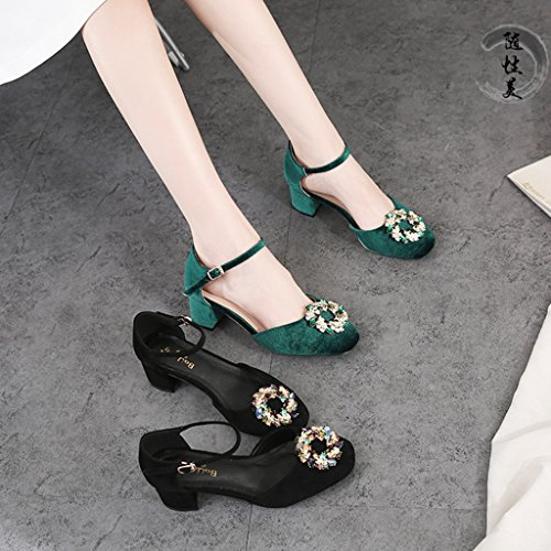 Mediados Color Mujer Baotou Zapatos Size Summer Moda QI FANG Green Talón de Head Green Sandalias BUSINE Rhinestone 5CM31 de Square WwZw7q0Sz