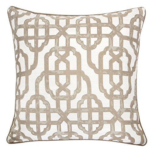 Homey Cozy Printed Pillow Cover,Beige Series Taupe Beige Geometric Decorative Square Couch Cushion Pillow Sham Case 20 x 20 Inch, Cover Only