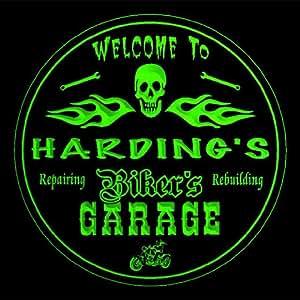 4x ccqu1724-g HARDING'S Biker's Garage Motorcycle Repair Bar Beer 3D Engraved Drink Coasters