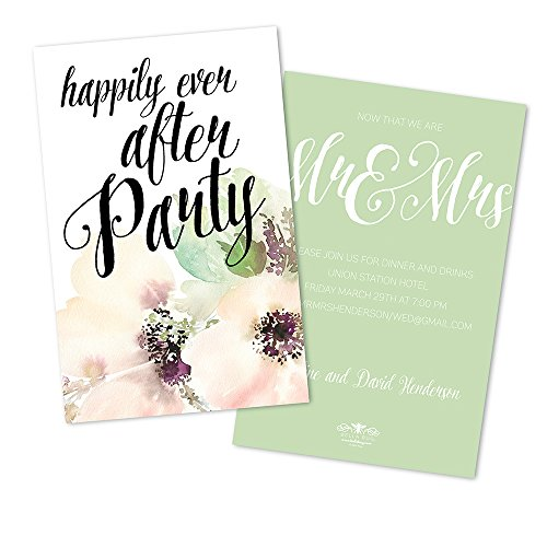 (Water Color Flower Personalized Wedding Reception Invitations)