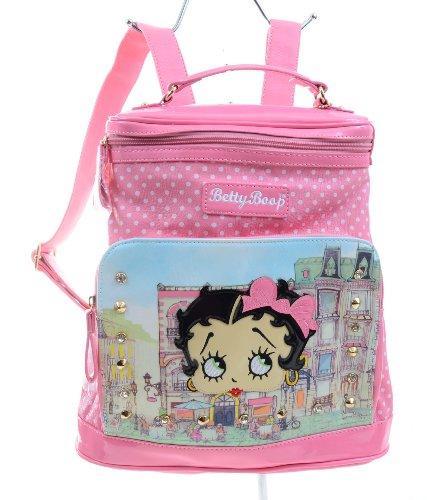 Pink Betty Boop City Scene Polka Dot Studded Shoulder Backpack