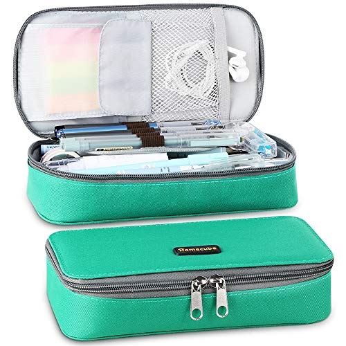 Homecube Pencil Case Big Capacity Pen Case Pouch Desk Organizer with Zipper Bag Stationery Storage Gel Pens Pencisl Highlighters Marker Eraser Sticky Note Scissors for School&Office Supplies, Green