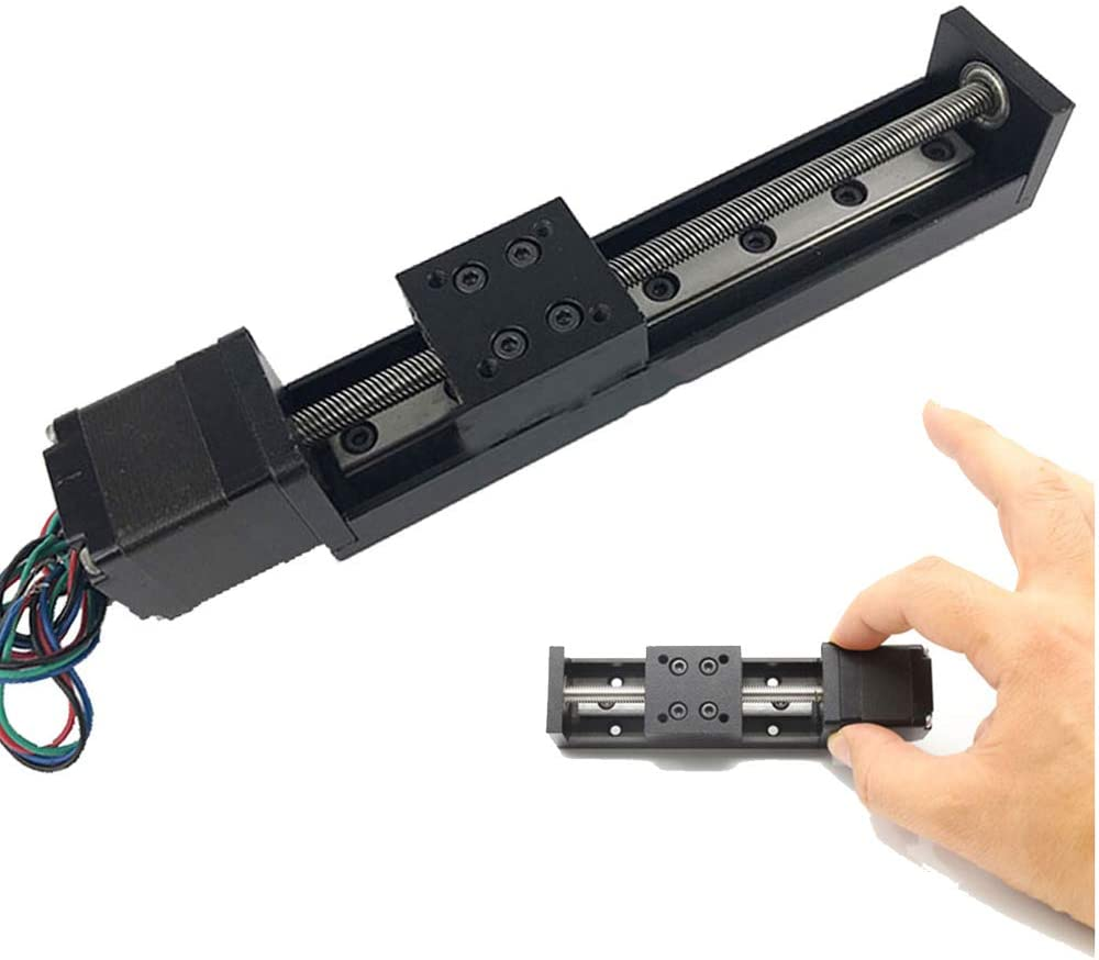 Linear Rail 50mm / 100mm / 150mm/ 200mm Linear Stage Actuator with Square Linear Rails Mini Slide Table + NEMA 11 Stepper Motor for DIY CNC Router Milling Machine (100mm)