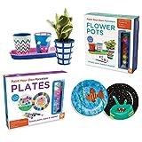 MindWare Paint Your Own Porcelain Plates Flower Pots: Set of 2