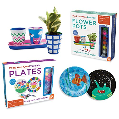 MindWare Paint Your Own Porcelain Plates and Flower Pots: Set of 2