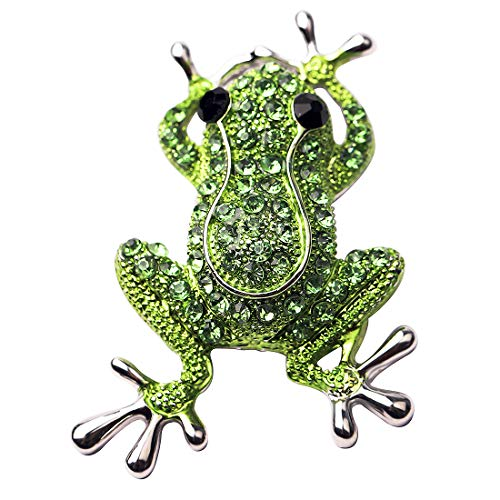HOLLP Frog Rhinestone Brooch Pins for Women Girls Natural Insect Animal Lovely Pins Frog Lover Gift (Silver)