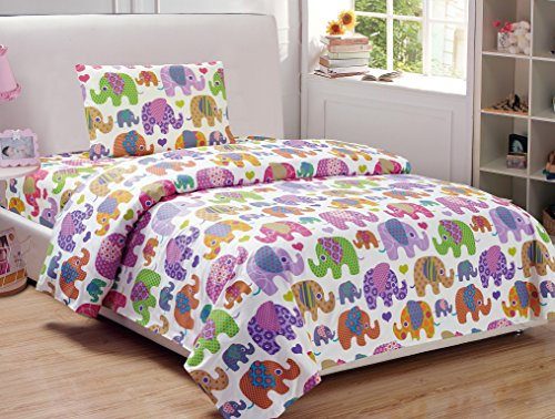 Mk Collection 3pc twin Elephant White Purple Pink Yellow green sheet set New (Twin, Sheet Set) - Elephant Sheets