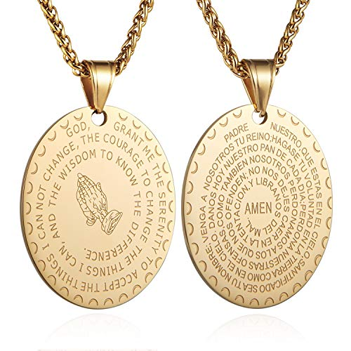 (HZMAN Bible Verse Prayer Necklace Christian Jewelry Gold Stainless Steel Praying Hands Coin Medal Pendant (Oval - Gold))