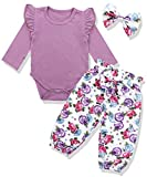 Newborn Baby Girls Clothes Floral Romper+ Floral Pant +Headband 3pcs Outfit 12-18 Months
