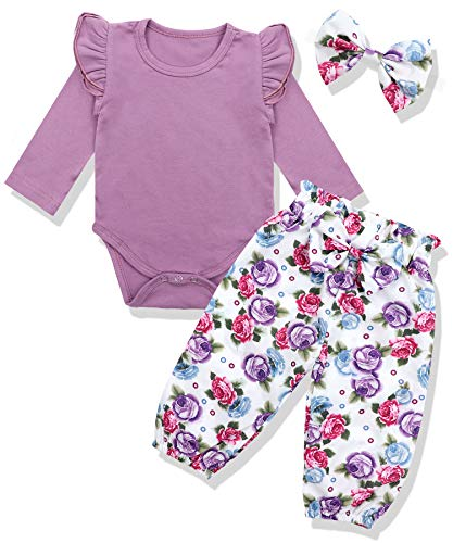 Newborn Baby Girls Clothes Floral Romper+ Floral Pant +Headband 3pcs Outfit 3-6 Months