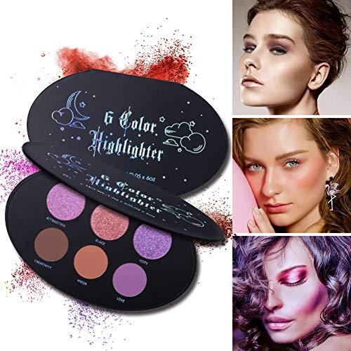 Ardorlove 6 Color Face Blusher Highlighter Bronzer Palette Long-Lasting Shimmer Matte Blusher Contour Palette