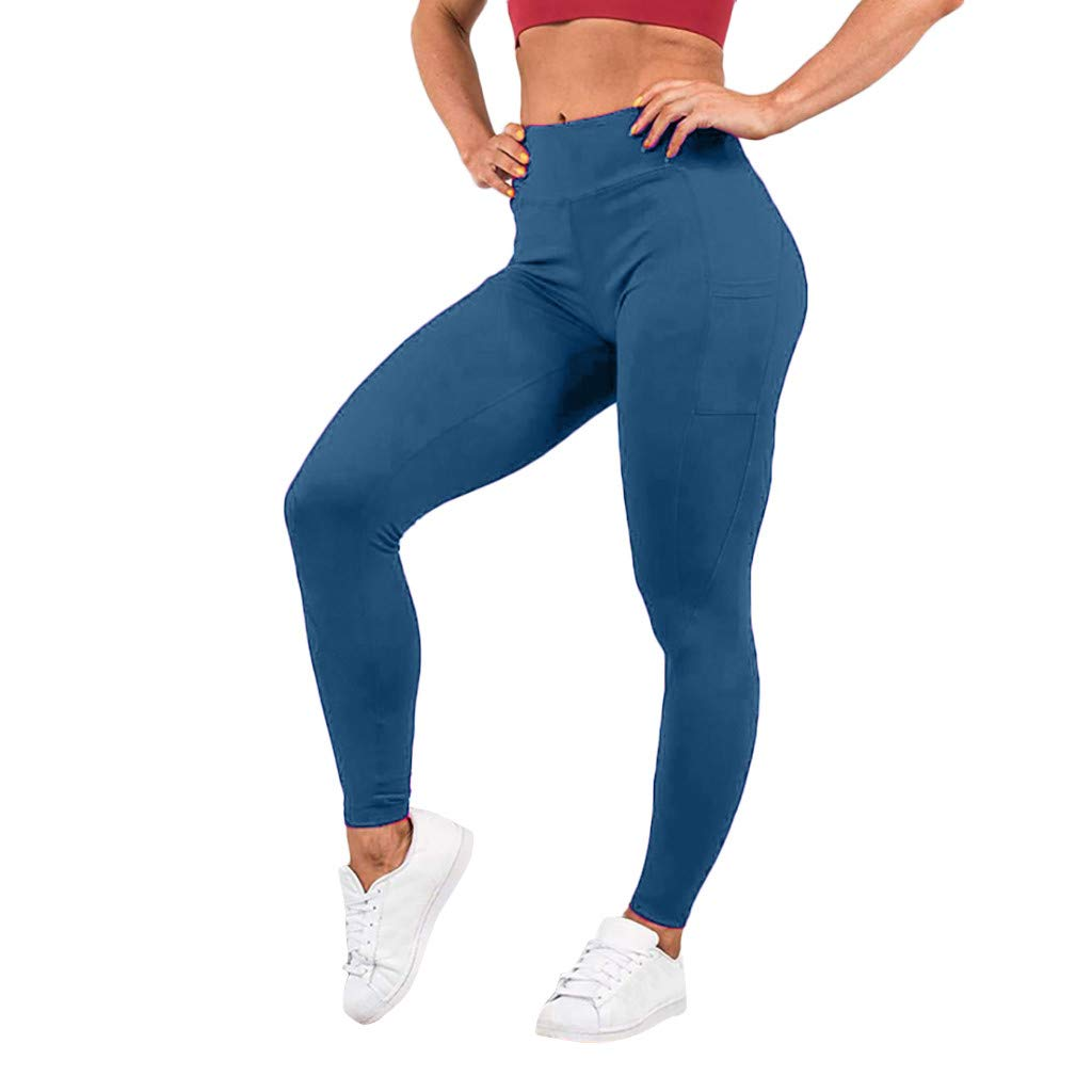 Pervobs Women's Elastic High Waist Workout Leggings Fitness Sports Gym Running Yoga Athletic Pants(S, Blue)