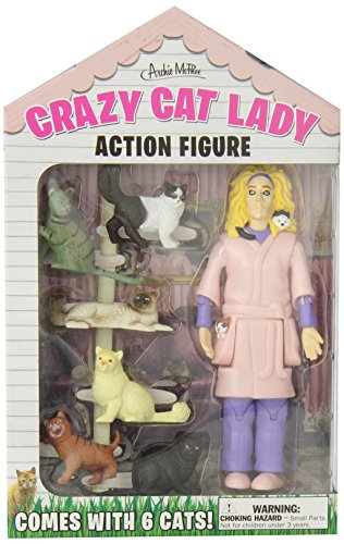 """Every town has a Crazy Cat Lady. She's the one who lives in a tiny house full of feral felines. This 5-1/4"""" (13.3 cm) tall hard vinyl Crazy Cat Lady Action Figure has a wild look in her eye and comes with six cats."""