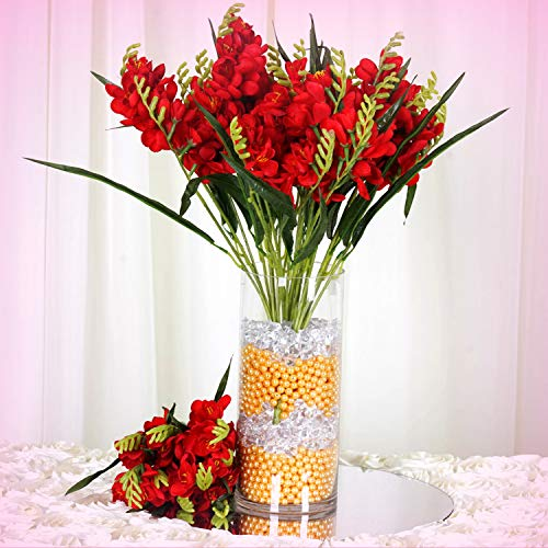 Inna-Wholesale Art Crafts New 4 Red Bushes Silk Freesia Decorating Flowers Bouquets Reception Party Decorations - Perfect for Any Wedding, Special Occasion or Home Office D?cor (Wedding Bouquet Freesia)