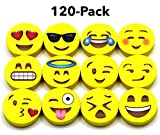 BEST EMOJI MINI ERASERS for Kids,120 Emoji Pencil Eraser Bulk Pack, Great for Gifts, Small Emoticon Party Favors, Teacher Incentives, Rewards, Classroom School Supplies, Pair with Fun Pencils