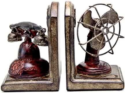 Bellaa 28687 Vintage Fan and Telephone Booksends