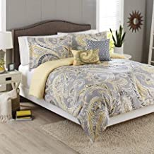 Better Homes and Gardens 5-Piece Bedding Comforter Set, Yellow Grey Paisley Size: Full/Queen