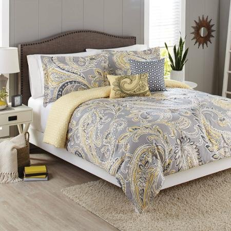 Better Homes and Gardens 5-Piece Bedding Comforter Set, Yellow Grey Paisley Size: King (Yellow Paisley Bedding)