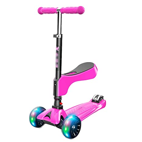 Amazon.com: Patinete de acero inoxidable rosa para niños con ...