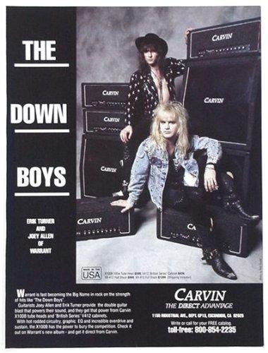 1989 Erik Turner Joey Allen Carvin Amps Original Print Ad (Music Memorabilia) (Erik Turner)