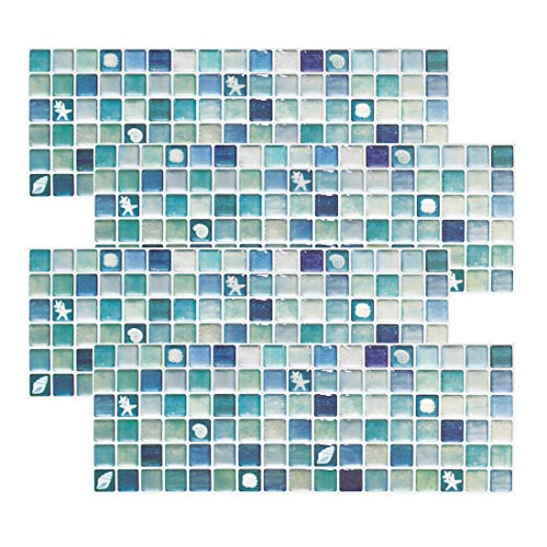 Beaustile Mosaic 3D Wall Stickers 4 Sheets Home Decor Blue Art Fire Retardant Backsplash Wallpaper Bathroom Kitchen DIY