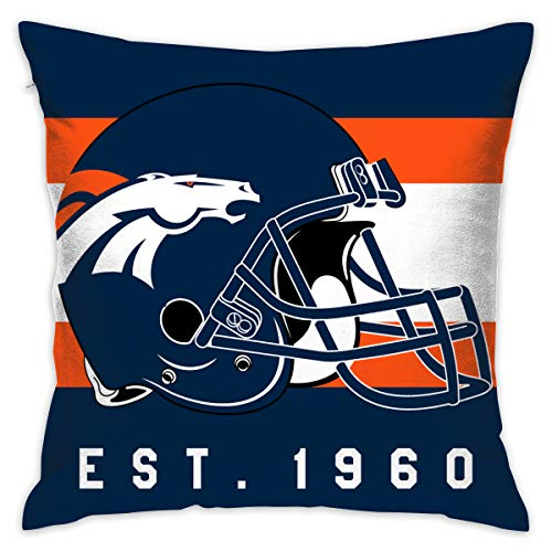Gdcover Custom Stripe Denver Broncos Pillow Covers Standard Size Throw Pillow Cases Decorative Cotton Pillowcase Protecter with Zipper - 18x18 Inches ()