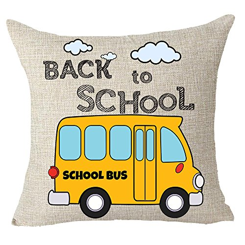 School Bus Pillow - FELENIW Student gift Back To School Yellow School Bus Throw Pillow Cover Cushion Case Cotton Linen Material Decorative 18x18 inches