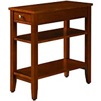 Narrow End Table For Small Places With Drawer and 2 Shelves Wooden Cherry Brown Small Classic Modern Tiered Chairside Sofa Couch Side Table for Living Room eBook by Easy&FunDeals