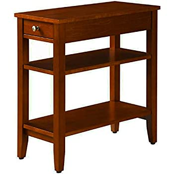 narrow end table for small places with drawer and 2 shelves wooden cherry brown. Black Bedroom Furniture Sets. Home Design Ideas