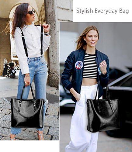 Upgraded 2.0 YALUXE Handtasche Damen Echtleder Crossbody Shopper Schultertasche Tote Arbeit Schwarz