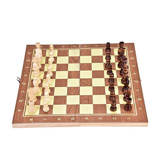 Vbestlife Ajedrez Artesanal de Madera Juego de ajedrez de Tablero de ajedrez de Madera Portátil Juego de ajedrez de Tablero...