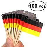 Tinksky German Flag Toothpicks Cocktail Stick National Wooden Flag Cupcake Toppers Toothpick for National Day Food Decoration,Pack of 100
