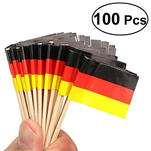 100pcs Wooden Flag Toothpicks German Flag Cupcake Toppers Toothpick for National Day Food - Flag Picks German