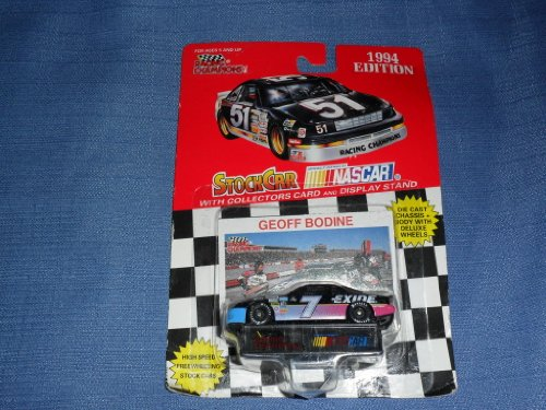 1994 NASCAR Racing Champions . . . Geoff Bodine #7 Exide Batteries Ford Thunderbird 1/64 Diecast . . . Includes Collector's Card and Display Stand