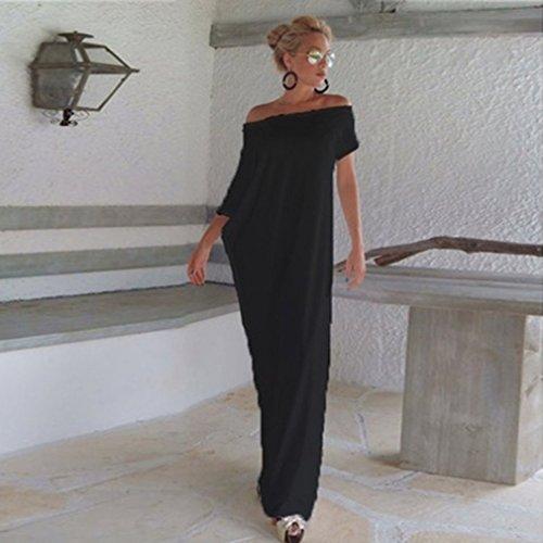 GUAngqi Womens Off Shoulder Strapless Batwing Irregular Backless Long Maxi Dress,white,M