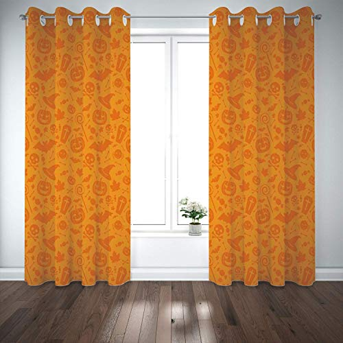 (Yaoni Thermal Insulated Grommet Blackout Curtains,Halloween Decorations,Monochrome Design Traditional Halloween Themed Various Objects Day,Orange,2 Panel,Bedroom,Cafe,Living)