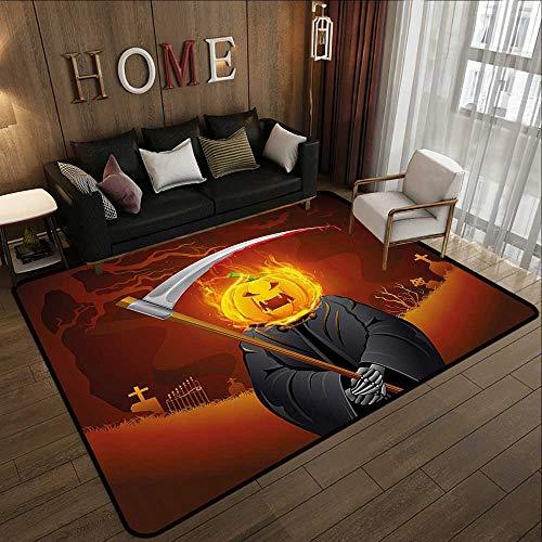 All Weather mats,Halloween Decorations,Pumpkin Grim Head Burning Flames