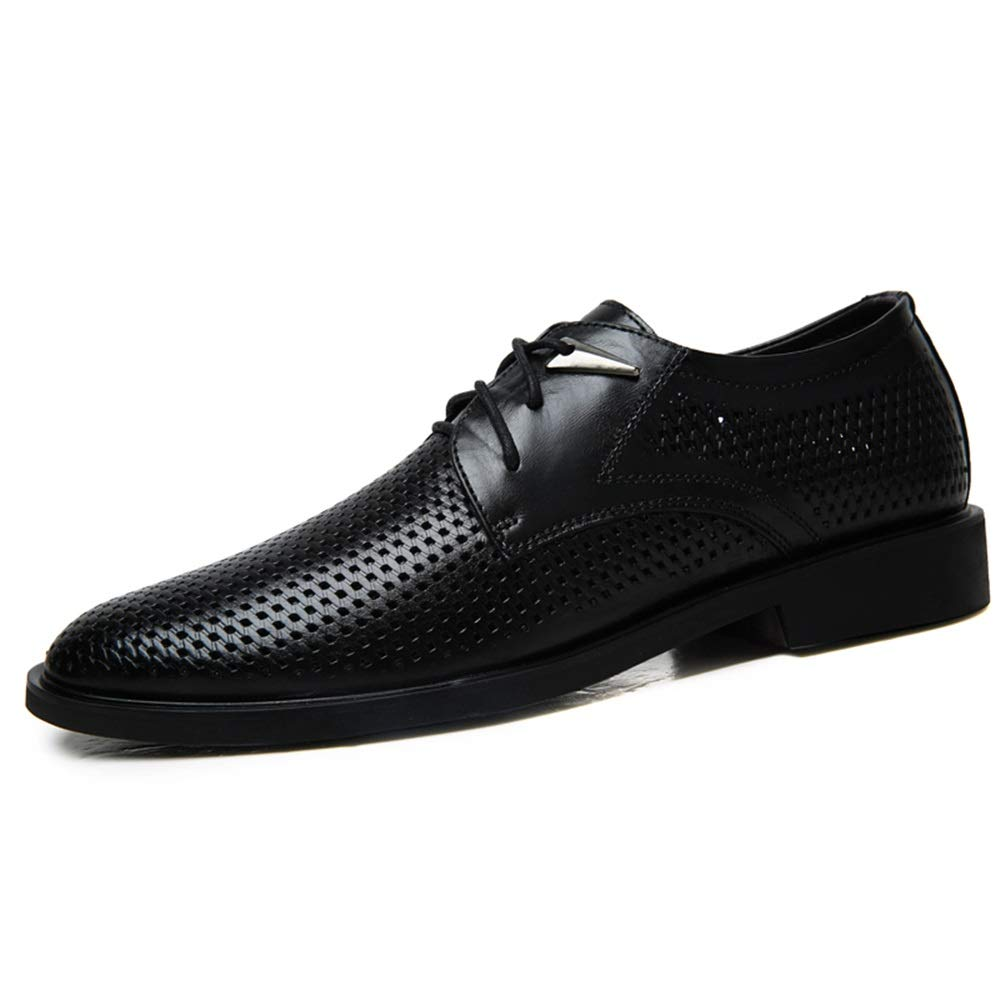 Black DOLDT1 Men's Business Oxfords Breathable Loafers Perforated shoes Lace Up Round Toe Open Toe and Ankle Strap Buckle Flat Sandals
