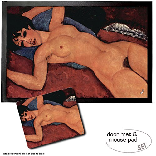Set: 1 Door Mat Floor Mat (24x16 inches) + 1 Mouse Pad (9x7 inches) - Amedeo Modigliani, Reclining Nude, 1917