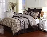 Nanshing America Griffin 7 Piece Bedding Set, Full, Taupe/Chocolate/Mineral Blue