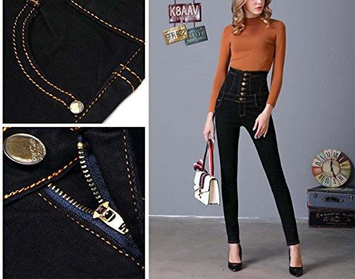 Jeans Noir femme Stretch Denim femme Pantalons de Regular Fit Pants une Jeans pour Range crayon Jeans rn0Frf