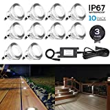10-Pack Recessed Deck Light Kit, Stainless Steel, 6000K Pure White, Wet Location Available, for Corner, Ceiling, Room, Pathway, Driveway, Garden