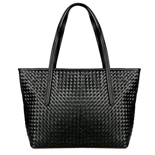 Womens Summer Tote Bag, SUSEN Ladies Designer Large Handbags Shoulder Bag, PU Leather, Simple & Fashion for Everyday Use (Black)
