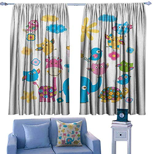 Nursery Bedroom Windproof Curtain Cute Animals Cartoon Style Happy Dancing Animals Elephant Birds Owls Set of Two Panels 55