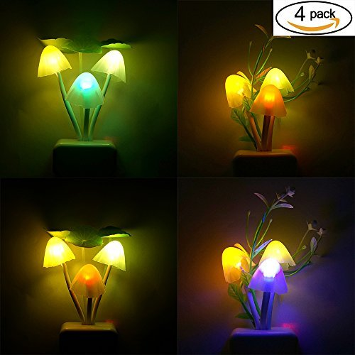 Night Light with Smart Sensor,0.7W Plug-In,Romantic Color Change,Mushroom&Lotus Leaf Lamp,(pack of 4)