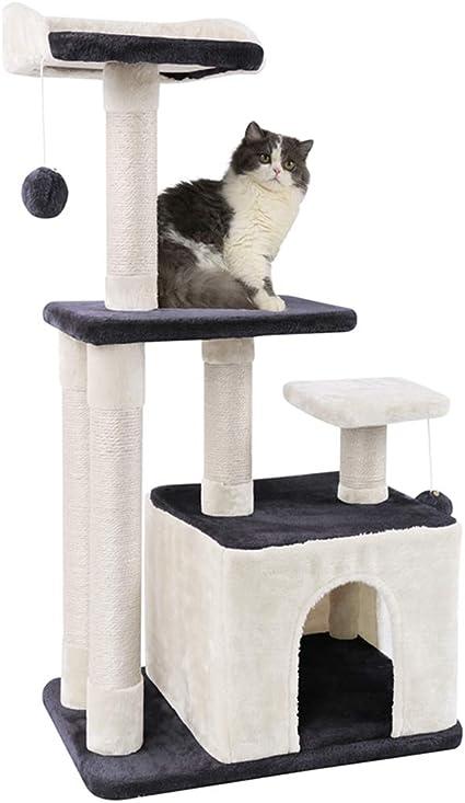 MC Star Árbol para Gato con Rascador Múltiples Plataformas, Cuevas para Gatos de Dos Puertas, Pelotas de Juguete con Campanas, Arañar Cama Juegos Gatos de Natural Sisal Altura 100 cm, Gris&Beige: Amazon.es: