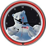 Trademark Global Polar Bear with Cubs Coca-Cola Neon Clock