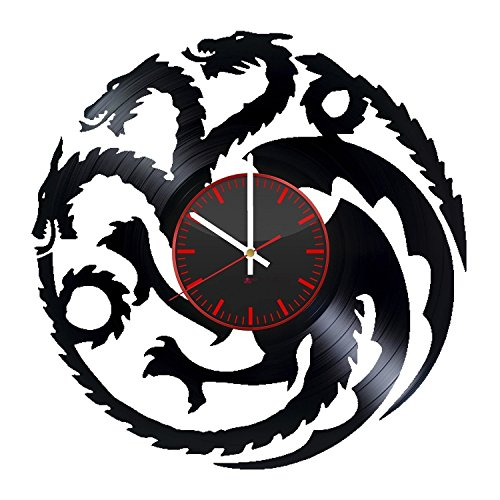Vintage Big Vinyl Record Wall Clock - Get unique kitchen room wall decor - Gift ideas for mother and father – Dragons Silhouette Unique Art Design