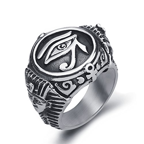 Men Stainless Steel Rings Egyptian Pharaohs Eye of Horus Ra Udjat Silver Tone Jewelry Size 11 -