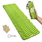 Camping Mat Inflatable Sleeping Pad - Compact & Lightweight for Backpacking - Ultralight Air Mattress Engineered for Comfort – with 3 Repair Patches and Bonus Survival Whistle (Parakeet Green)